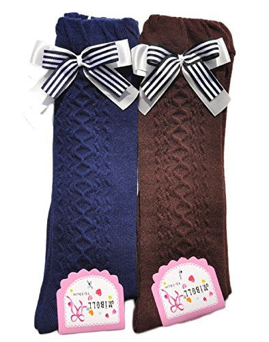 Lian LifeStyle Girls' 2 Pairs Pack Knee High Cotton Socks Sizes FBA(0Y-10Y)
