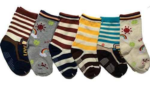 Meso Unisex Children 6 Pairs Pack Non-Skid Cotton Crew Socks 6M-3Y