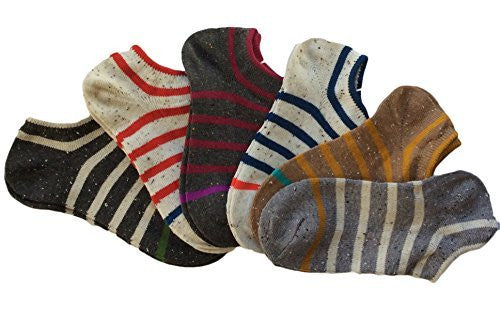 Lian LifeStyle Unisex Adult 6 Pairs Low Cut Cotton Socks Striped Size 6-9