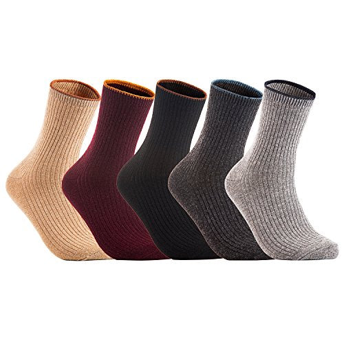 Meso Women's 3 Pairs Cashmere Wool Crew Socks MHR1612 Casual Solid Size 6-9