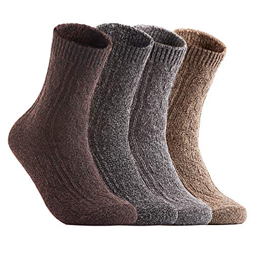 Women's&Big Girl's 4 Pairs Pack Fashion Soft Wool Crew Socks Size 5-9 MHR1613-4P4C-1(Grey, Dark Grey, Tan, Coffee)