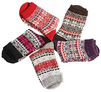 Lian LifeStyle Women's 5 Pairs Plaid-Maple Leaf Wool Socks Size 7-9