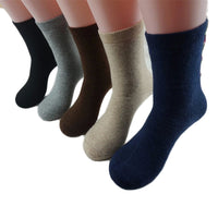 Lian LifeStyle Men's 3 Pairs Thick Cashmere Wool Blend Crew Socks Diamond Size 9-11