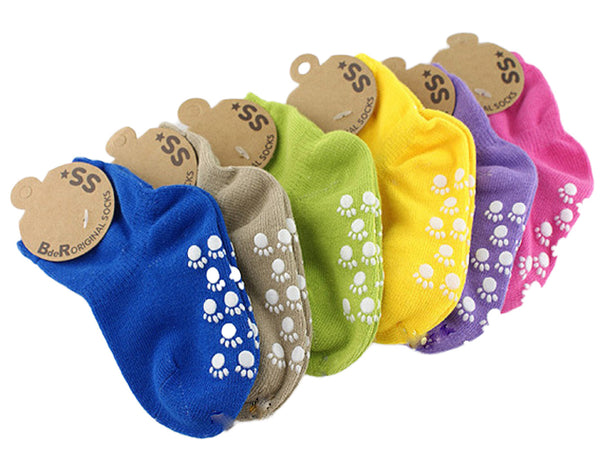 Meso Girl's 6 Pairs Non Slip Pure Cotton Socks Laced Multi Color