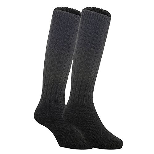 Meso Unisex Children 2 Pairs Knee High Wool Boot Socks MFS02 Size 2-4Y(Black)