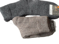 Lian LifeStyle Men's 2 Pairs Pack Extra Thick Cashmere Wool Socks stripped Size 7-10