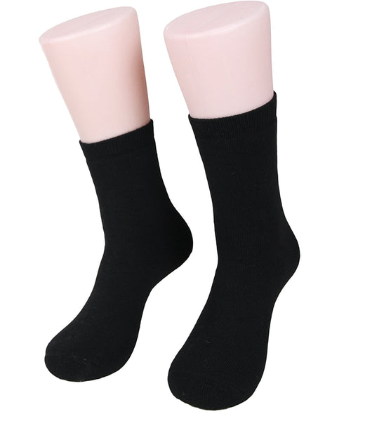 Lian LifeStyle Women's 1 Pair Thick Cashmere Wool Socks Plain Color Size 7-9(Black)