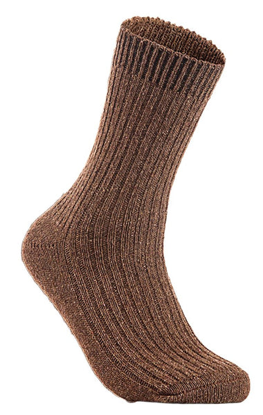 Lian LifeStyle Men's 1 Pair Knitted Wool Crew Socks One Size 7-9 (Brown)