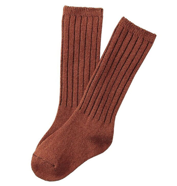 Lian LifeStyle Children 1 Pair Knee High Wool Socks Size 4-6Y (Brown)