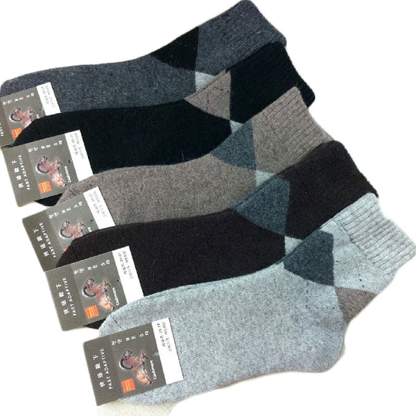 Lian LifeStyle Men's 4 Pairs Pack Extra Thick Cashmere Wool Socks Diamond Size 7-10