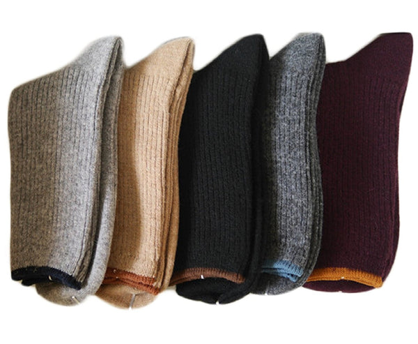 Lian LifeStyle Women's 4 Pairs Cashmere Wool Crew Socks 7-9 Casual Multi Color