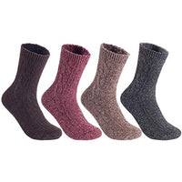 Women's&Big Girl's 4 Pairs Pack Fashion Soft Wool Crew Socks Size 5-9 MHR1613 Assorted