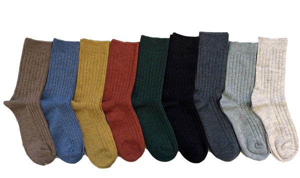 Lian LifeStyle Women's 5 Pairs Pack Fashion Soft Wool Crew Socks One Size HR1690
