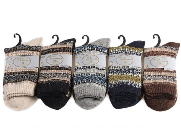 Lian LifeStyle Women's 5 Pairs Pack Wool Soft Folk Design Fashion Socks Diamond Size 25-27