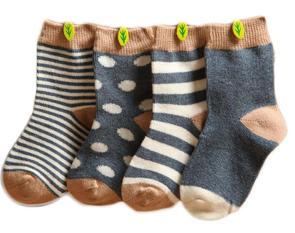 Lian LifeStyle Baby Toddler 4 Pairs Pack Cute Cotton Socks 3 Sizes(0-36M)