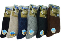 Lian LifeStyle Men's 3 Pairs Thick Wool Blend Crew Socks Diamond Size 7-9(Beige)