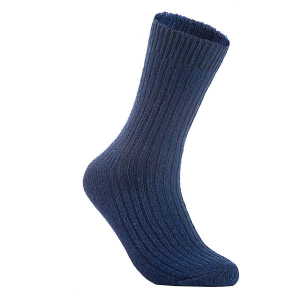 Lian LifeStyle Men's 1 Pair Knitted Wool Crew Socks One Size 7-9 (Navy Blue)