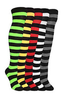 Women's 5 Pairs Truly Beautiful Cable-Knit Over The Knee Socks Various Patterns LSR One Size
