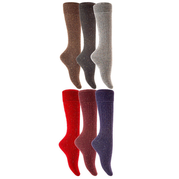 Lian LifeStyle Big Girl's 6 Pairs High Crew Knee High Turn Up Rib Colorful Winter Wool Socks L/XL