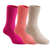 Lian LifeStyle Children 3 or 6 Pairs/Colors Pack Wool Socks Plain Color