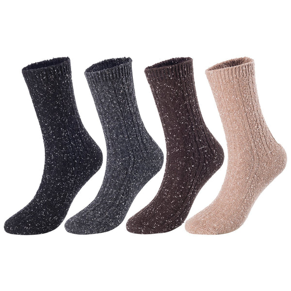 Lian LifeStyle Women's 4 Pairs Pack Fashion Soft Cotton Crew Socks Size 6-9 HR1614