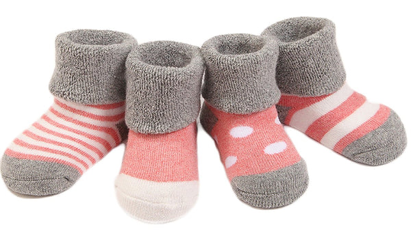 Lian LifeStyle Baby Toddler 4 Pairs Pack Thick Cotton Socks 3 Sizes(0Y-3Y)