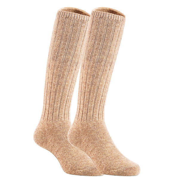 Lian LifeStyle Unisex Baby Children 4 Pairs Knee High Wool Blend Boot Socks Size 4-6Y(Beige)