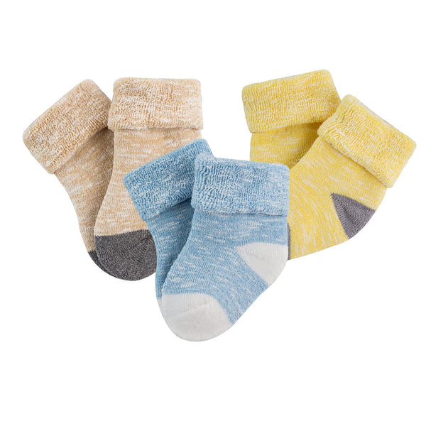 Lian LifeStyle Unisex Baby Toddler 6 Pairs Thick Combed Cotton Crew Socks ZM03 XS/S/M 0Y-2Y