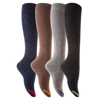 Lian LifeStyle Women's 4 Pairs Knee High Cotton Boot Socks Size 6-9