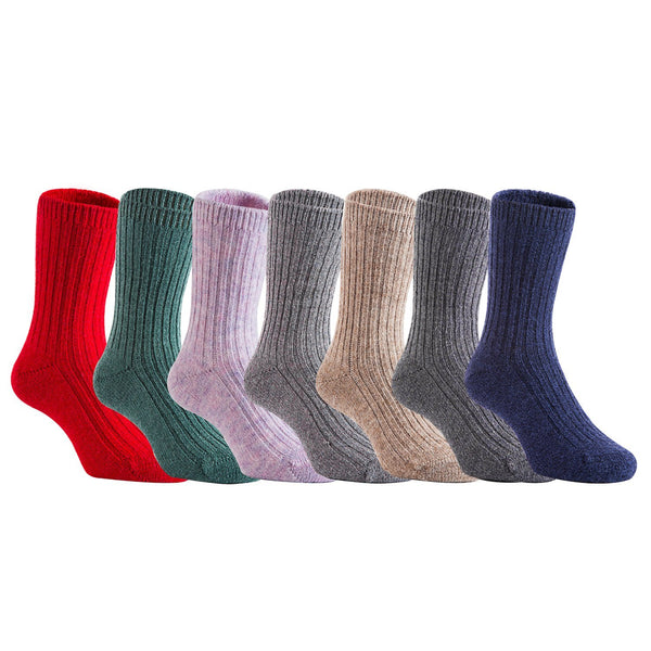 Lian LifeStyle Children 12 Pairs Soft Wool Blend Crew Socks Random Color