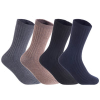 Lian LifeStyle Men's 4 Pairs Wool Crew Socks Size 8-11 Casual(Navy)