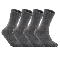 Lian LifeStyle Men's 4 Pairs Extra Thick Wool Socks Solid Size 7-11