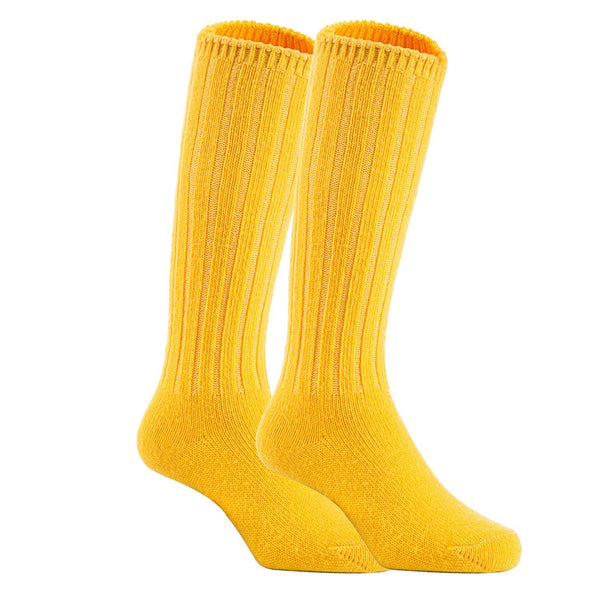 Lian LifeStyle Unisex Baby Children 4 Pairs Knee High Wool Blend Boot Socks Size 2-4Y(Yellow)