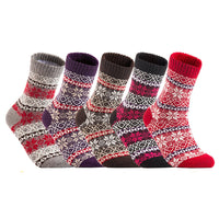 Lian LifeStyle Big Girl's 5 Pairs Fashion Plaid-Maple Leaf Wool Socks Casual Size L/XL