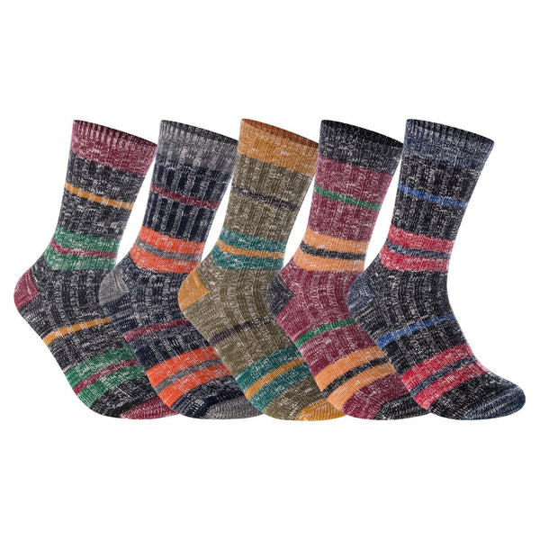 Lian LifeStyle Women's 5 Pairs Pack Combed Cotton Mixed Color Socks Size 7-9