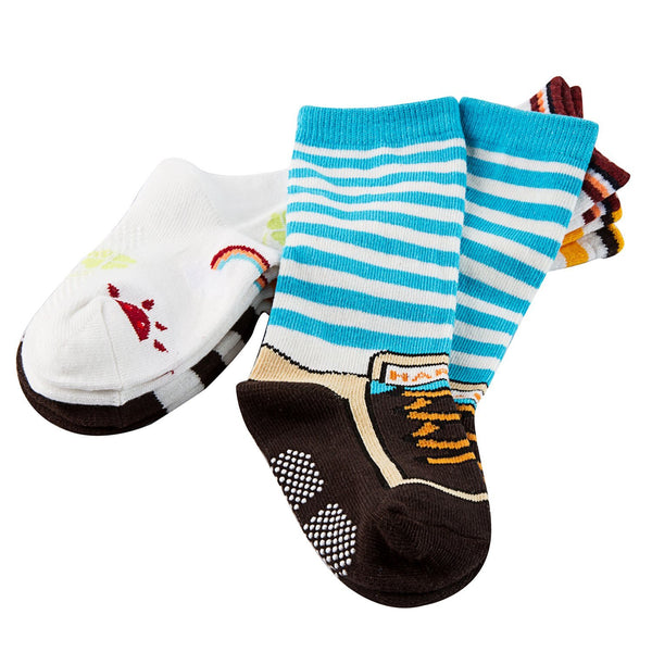 Lian LifeStyle Baby Children 3 Pairs Knee High Non-Skid Non-Slip Cotton Socks