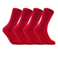 Lian LifeStyle Men's 1 Pair Knitted Wool Crew Socks One Size 7-9 (Red)