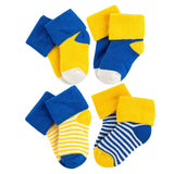 Lian LifeStyle Baby Boy's 4 Pairs Thick Combed Cotton Crew Socks ZM04 XS/S/M 0Y-2Y