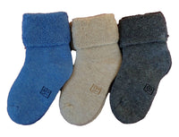 Lian LifeStyle 6 Pairs Pack Children Thick Wool Blend Crew Socks Plain 12M-24M (Blue,Gray,Beige)