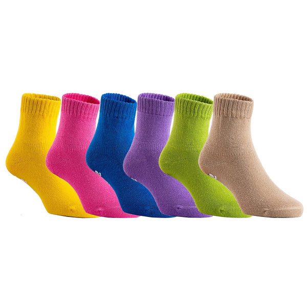Lian LifeStyle Unisex Baby Toddler 6 Pairs Pack Non Slip Pure Cotton Socks JH007 Multi Color