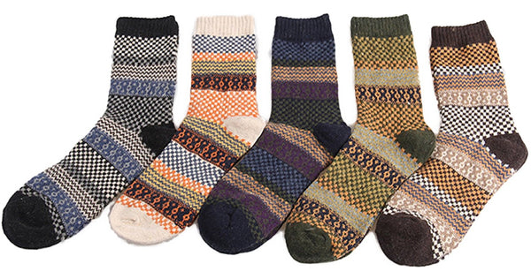 Lian LifeStyle Men's 5 Pairs Pack Wool Socks Classic Square Size 6-10