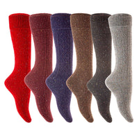 Lian LifeStyle Big Girl's 6 Pairs Pack High Crew Wool Socks Size 7-9 Random Colors