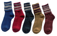 Lian LifeStyle Women's 5 Pairs Double Needle Wool Socks for All Seasons