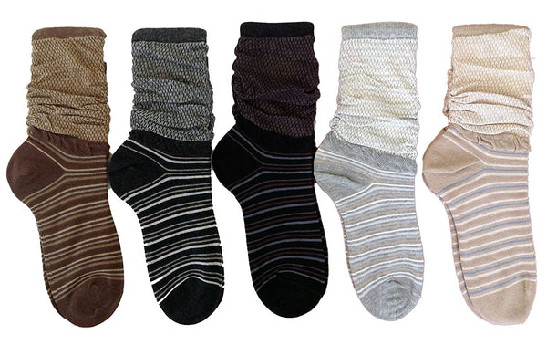 LLS Women's 5 Pairs Pack Classic Design Thin Cotton Socks