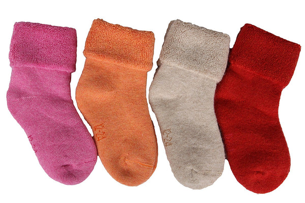 Lian LifeStyle Girl's 4 Pairs Pack Thick Wool Blend Crew Socks Solid Size 0M-2Y