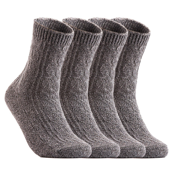 Lian LifeStyle Big Girl's Women's Fashion Soft Wool Blend Crew Socks One Size(HR1613)