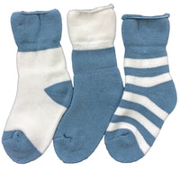 Lian LifeStyle Children's 3 Pairs Combed Cotton Crew Socks Stripes Size(0Y-2Y)