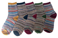 LLS Women's 5 Pairs Pack Cotton Socks Mixed Color Size 7-9