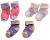 Lian LifeStyle Unisex Children 6 Pairs Wool Blend Crew Socks Love Hearts Random Color
