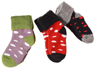 Lian LifeStyle 3 Pairs Children Viscose Dotted Crew Socks Random Color